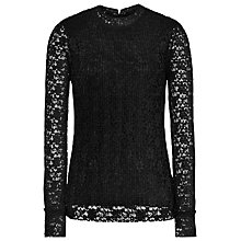 Buy Reiss Alexa Plisse Lace Top, Black Online at johnlewis.com