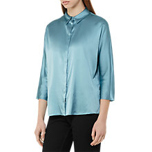 Buy Reiss Larue Satin Blouse, Blue Topaz Online at johnlewis.com