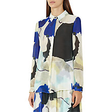 Buy Reiss Celina Sketch Print Blouse, Bright Sapphire Online at johnlewis.com