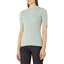 Buy Reiss Angelina Rib Knit Top, Green Online at johnlewis.com