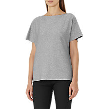 Buy Reiss Sami Metallic V Neck Top, Silver Online at johnlewis.com