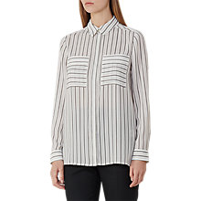 Buy Reiss Lucia Stripe Blouse, Off White/Black Online at johnlewis.com