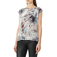 Buy Reiss Coleen Silk Front Print Top, Grey/Multi Online at johnlewis.com