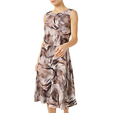 Buy Jacques Vert Petite Printed Flared Dress, Brown/Multi Online at johnlewis.com