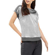 Buy Oasis Crinkle Roll Sleeve T-Shirt, Silver Online at johnlewis.com