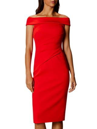 Karen Millen Bardot Shoulder Pencil Dress, Red