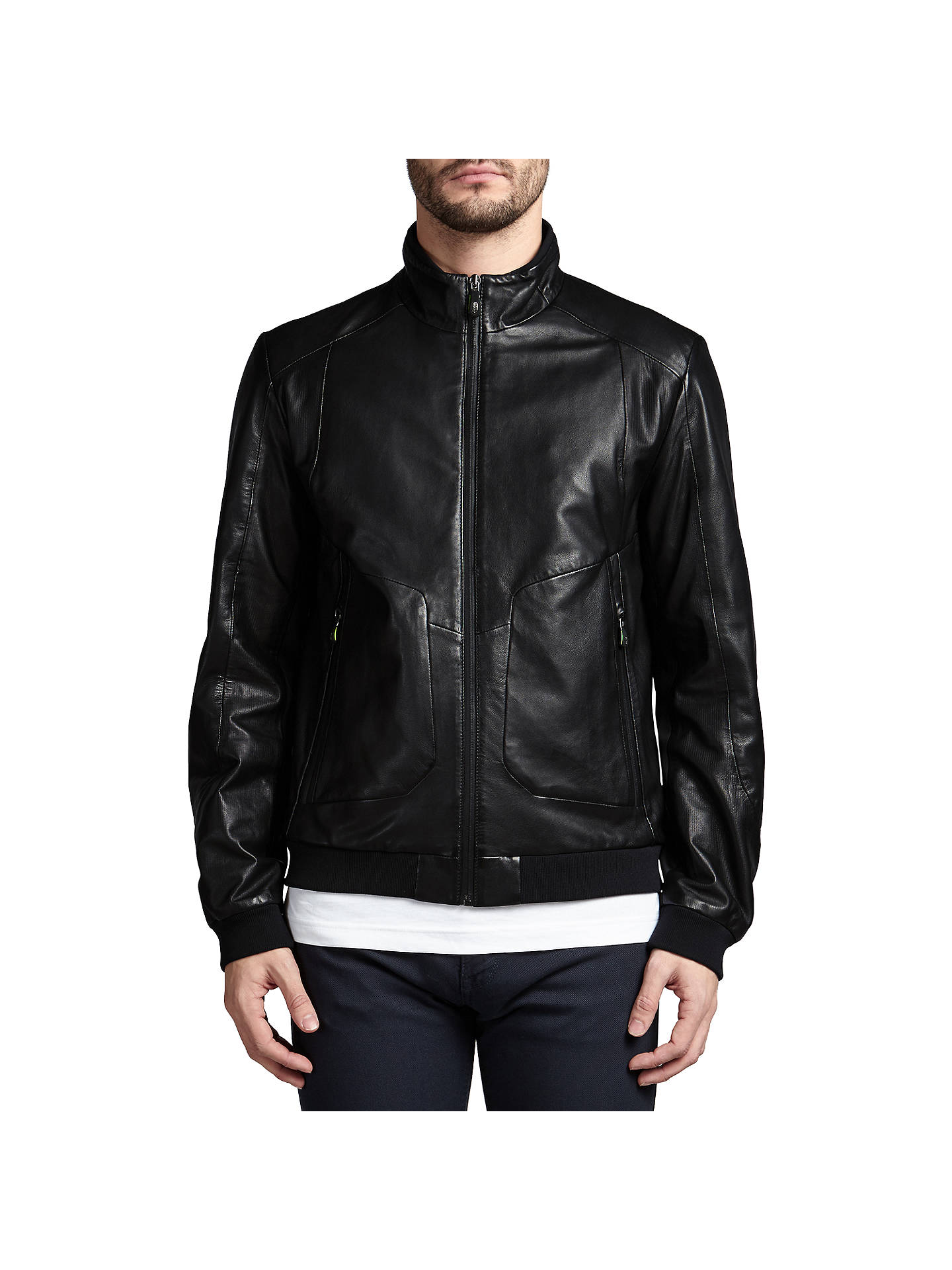 1fad9b19d BOSS Green Jesbo Leather Jacket, Black at John Lewis & Partners