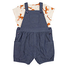 Buy John Lewis Baby Leopard Bibshorts and T-Shirt Set, Blue/Multi Online at johnlewis.com