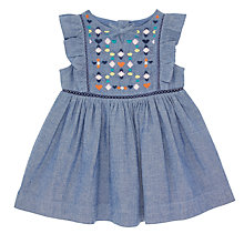 Buy John Lewis Baby Chambray Embroidered Dress, Blue Online at johnlewis.com