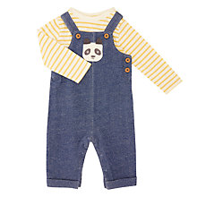 Buy John Lewis Baby Panda Dungaree Set, Multi Online at johnlewis.com