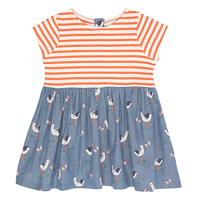 Product photo of John lewis baby stork and stripe dress blue red