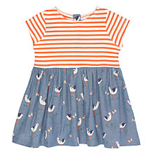 Buy John Lewis Baby Stork and Stripe Dress, Blue/Red Online at johnlewis.com