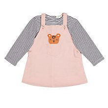 Buy John Lewis Baby Leopard Pinafore and Striped Top, Pink Online at johnlewis.com