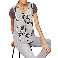 Buy Mint Velvet Cassie Print Silk Front T-Shirt, Multi Online at johnlewis.com