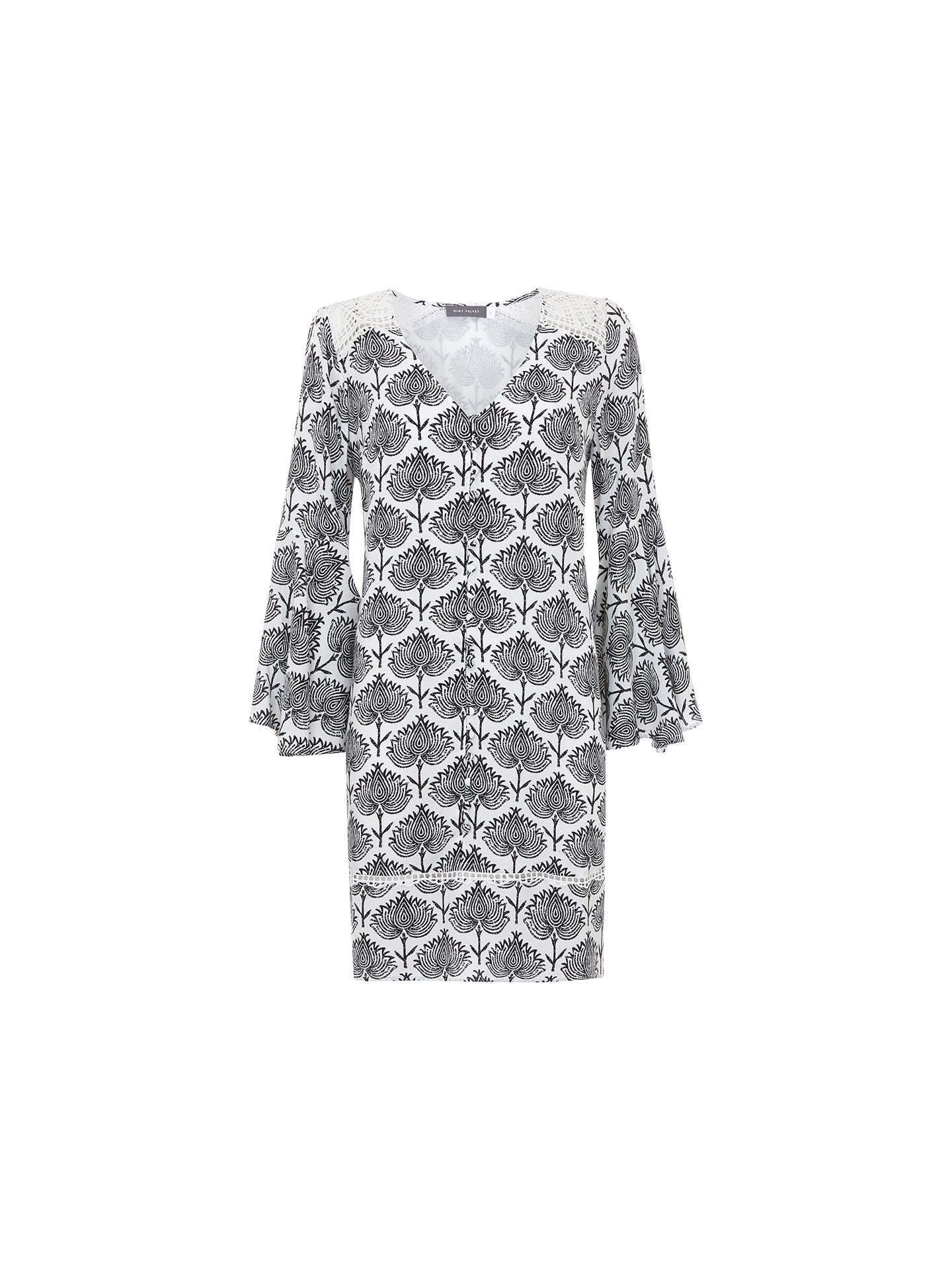 Mint Velvet Nala Print Fluted Sleeve Peasant Dress, Black/White