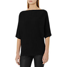 Buy Reiss Olympia Knitted Batwing Sleeve Top, Black Online at johnlewis.com