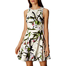 Buy Karen Millen Tropical Lily Print Dress, White/Multi Online at johnlewis.com