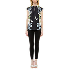 Buy Ted Baker Naddi Gem Gardens Keyhole Top, Black Online at johnlewis.com