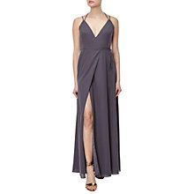 Buy Adrianna Papell Spaghetti Strap Wrap Evening Gown, Gunmetal Online at johnlewis.com
