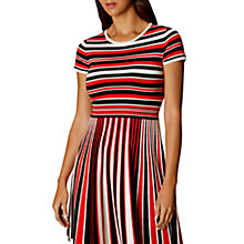 Buy Karen Millen Graphic Stripe Knitted Flared Dress, Multi Online at johnlewis.com