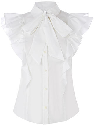Buy Karen Millen Super Frill Cotton Shirt, White, 6 Online at johnlewis.com