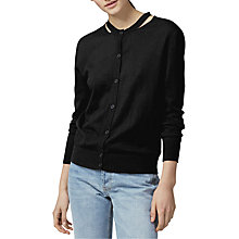 Buy Warehouse Split Crew Neck Cardigan, Black Online at johnlewis.com