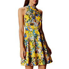 Buy Karen Millen Fit And Flare Blossom Print Dress, Yellow Online at johnlewis.com