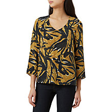 Buy Hobbs Chrissie Silk Blouse, Gold/Multi Online at johnlewis.com