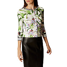 Buy Karen Millen Tropical Lily Print Cardigan, Blue/Multi Online at johnlewis.com