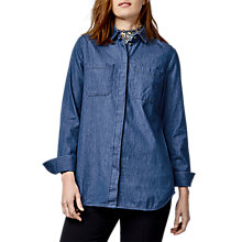 Buy Warehouse Denim Pocket Detail Shirt, Mid Wash Online at johnlewis.com