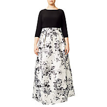 Buy Adrianna Papell Plus Size Jersey Print Mikado Gown, White/Multi Online at johnlewis.com
