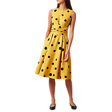Buy Hobbs Carina Twitchill Dress, Ochre/Navy Online at johnlewis.com