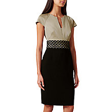 Buy Hobbs Rebecca Dress, Satin Beige/Black Online at johnlewis.com