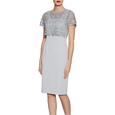 Gina Bacconi Crepe Dress With Primrose Guipure Top