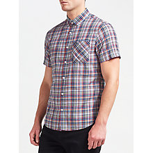 Buy Original Penguin Short Sleeve Plaid Shirt, Dark Sapphire Online at johnlewis.com