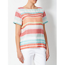Buy Collection WEEKEND by John Lewis Linen Striped Linen T-Shirt, Pink/White Online at johnlewis.com