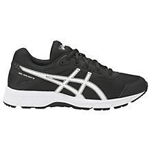 Buy Asics Children's Gel-Galaxy 9 GS Cushioned Laced Trainers, Black/White Online at johnlewis.com