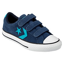 Buy Converse Children's Star Player 3V Triple Rip-Tape Trainers, Navy Suede Online at johnlewis.com