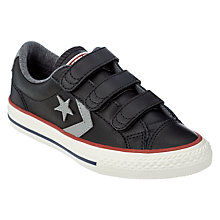 Buy Converse Children's Star Player 3V Triple Rip-Tape Trainers, Black Leather Online at johnlewis.com