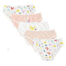 Buy John Lewis Girls' Butterfly Briefs, Pack of 5, Pink/White Online at johnlewis.com
