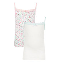 Buy John Lewis Girl Floral Bee Cami Vest, Pack of 2, White Online at johnlewis.com