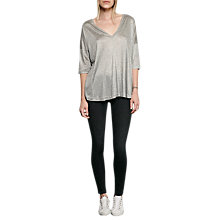 Buy French Connection Miro Mercerised Top, Mid Grey Mel Online at johnlewis.com