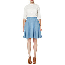 Buy French Connection Denim Mix Flared Skirt, White/Washed Blue Online at johnlewis.com