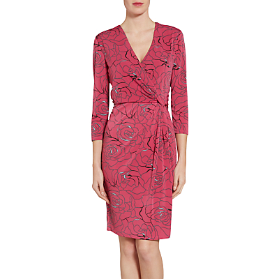 Product photo of Gina bacconi floral print crepe jersey dress pink