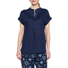 Buy East Linen Curved Hem Blouse, Sapphire Online at johnlewis.com