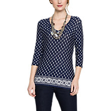 Buy East Ava Booti Print Jersey Top, Navy Online at johnlewis.com
