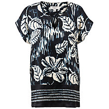 Buy East Silk Simone Print Shell Top, Navy Online at johnlewis.com