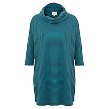 Buy East Stripe Cowl Neck Top, Teal Online at johnlewis.com
