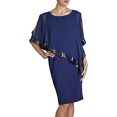 Product photo of Gina bacconi crepe dress and sequin chiffon cape