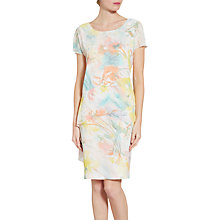 Buy Gina Bacconi Watercolour Floral Print Dress, White/Multi Online at johnlewis.com